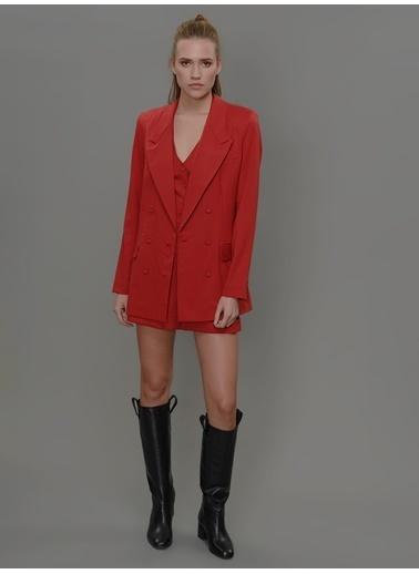 Faraway Kırlangıç Yaka Kruvaze Ceket Kırmızı